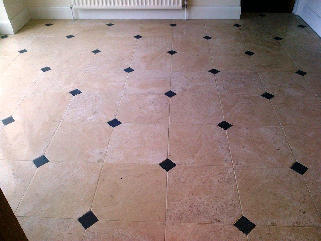 Limestone Floor with Slate Inlays Before