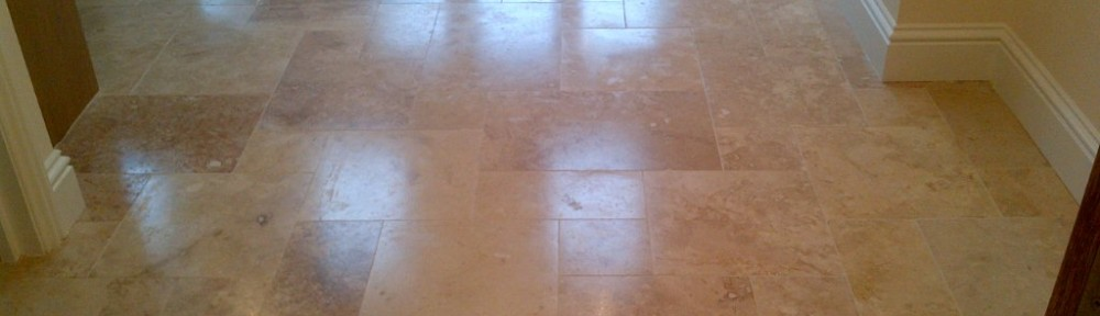 Honed Travertine Tiled floor Re-Sealed in Aylesbury