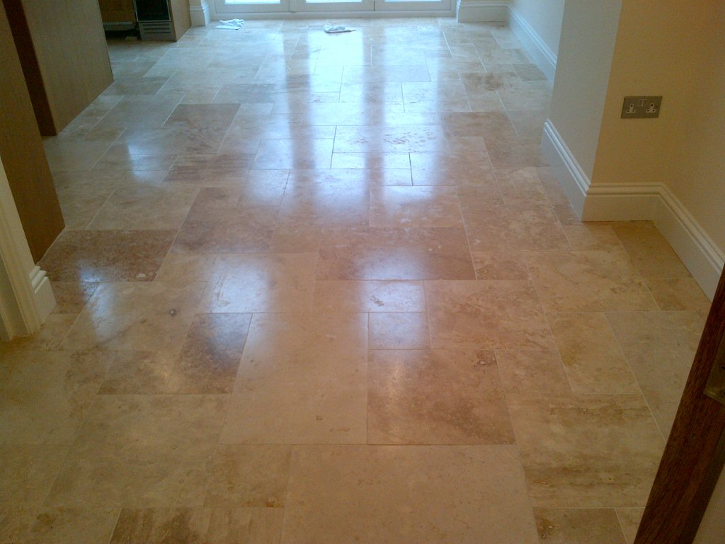 New Build Travertine Clean For Construction Company Tile