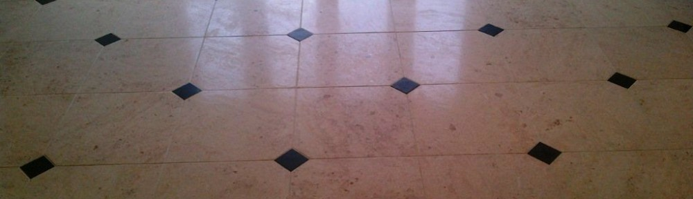 Limestone Tiled floor cleaned and polished in Little Chalfont