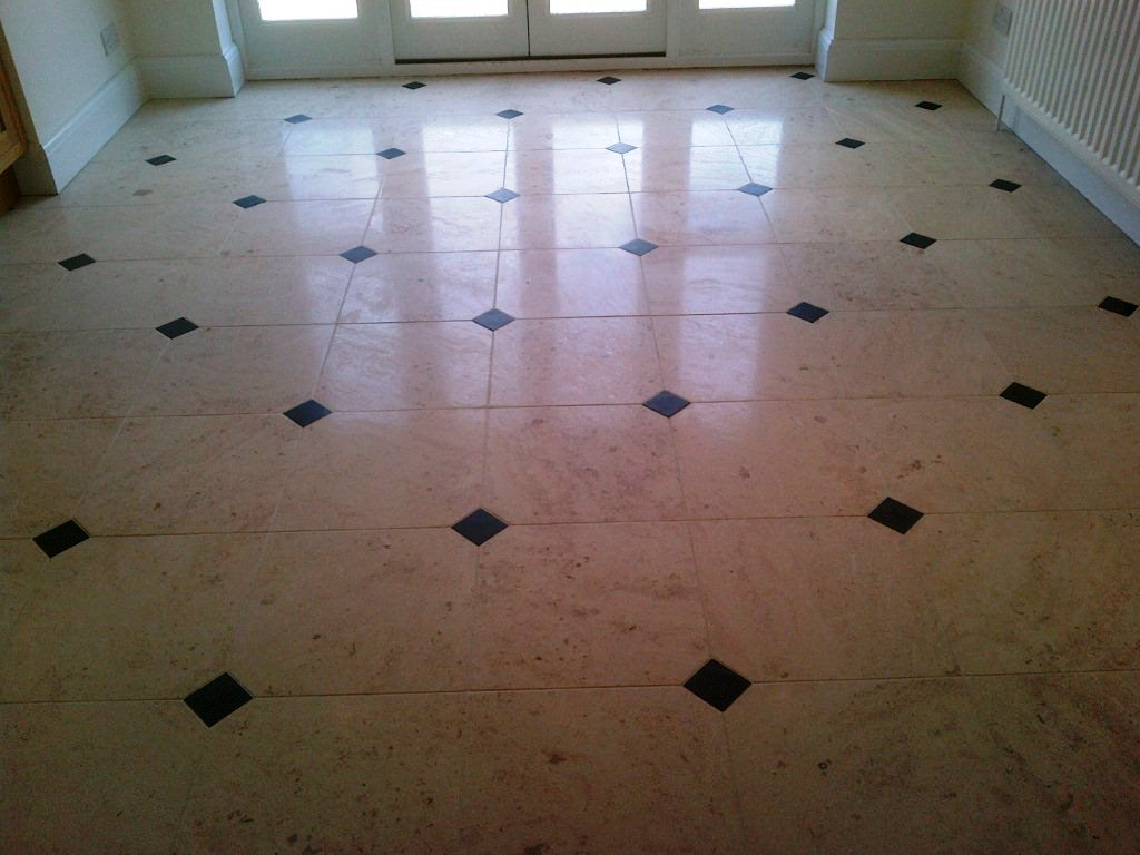 Limestone Floor with Slate Inlays After
