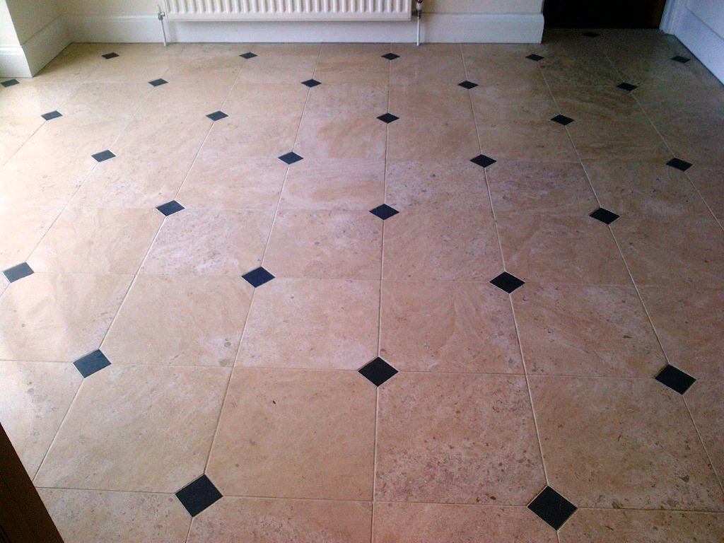 Limestone Floor with Slate Inlays Before