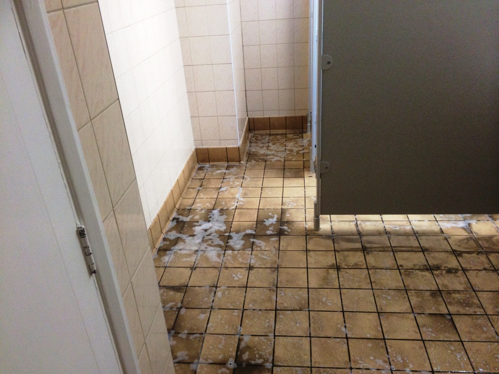 Cleaning Ceramic Wall And Floor Tiled Toilets In A London Night Club