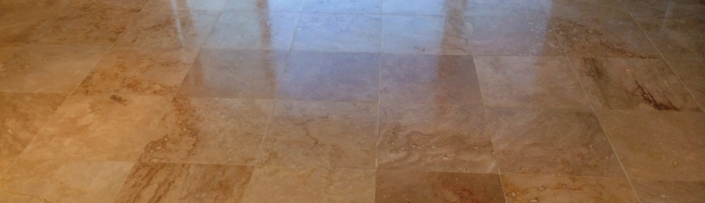 Cleaning and Polishing a Travertine Tiled Floor in Ashton Clinton