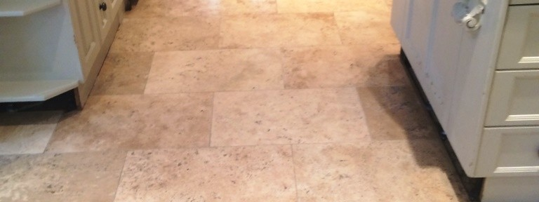 Deep Cleaning and Polishing a Limestone tiled kitchen floor in Marlow