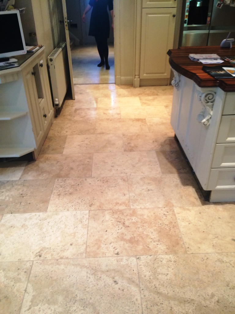 Limestone Tiled Kitchen Floor After Cleaning and Sealing in Marlow