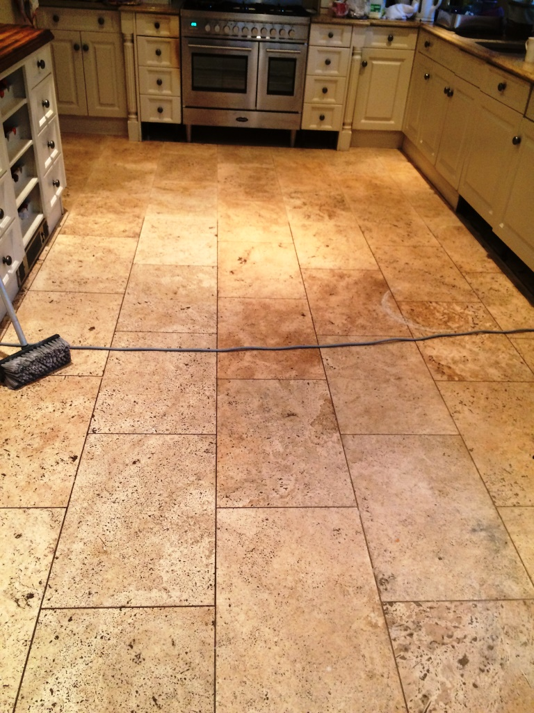 Limestone Tiled Kitchen Floor Before Cleaning in Marlow