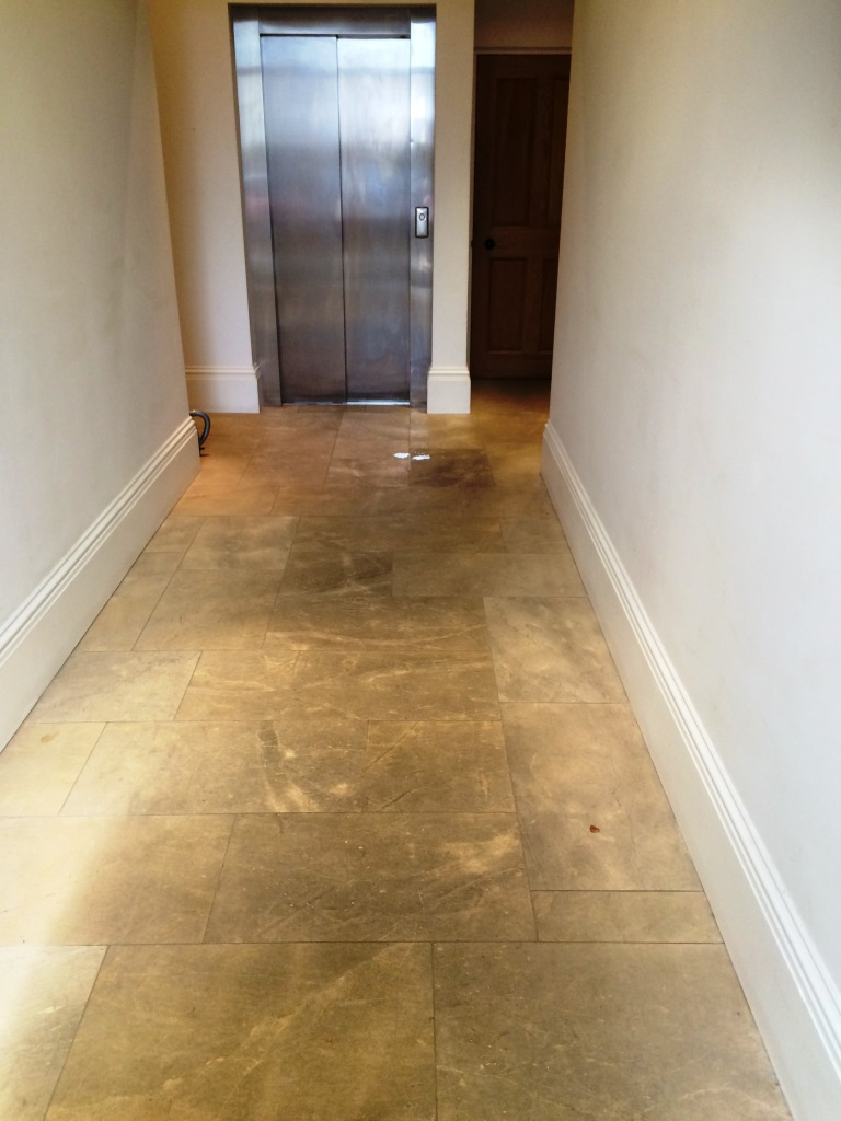 Polished Limestone before cleaning in Aston Clinton