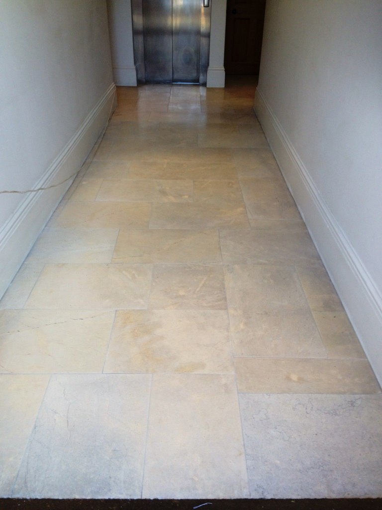 Polished Limestone after cleaning in Aston Clinton