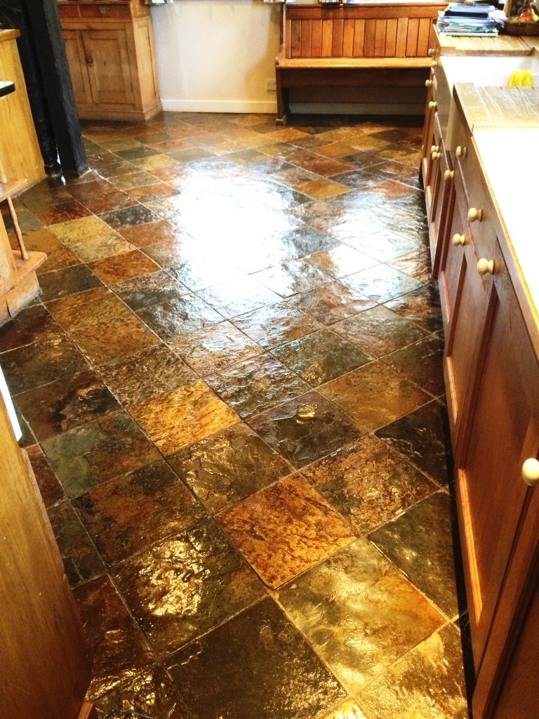 Tile cleaning stone cleaning and polishing tips for slate floors slate tiled kitchen farmhouse floor after sealing in little hampden dailygadgetfo Gallery