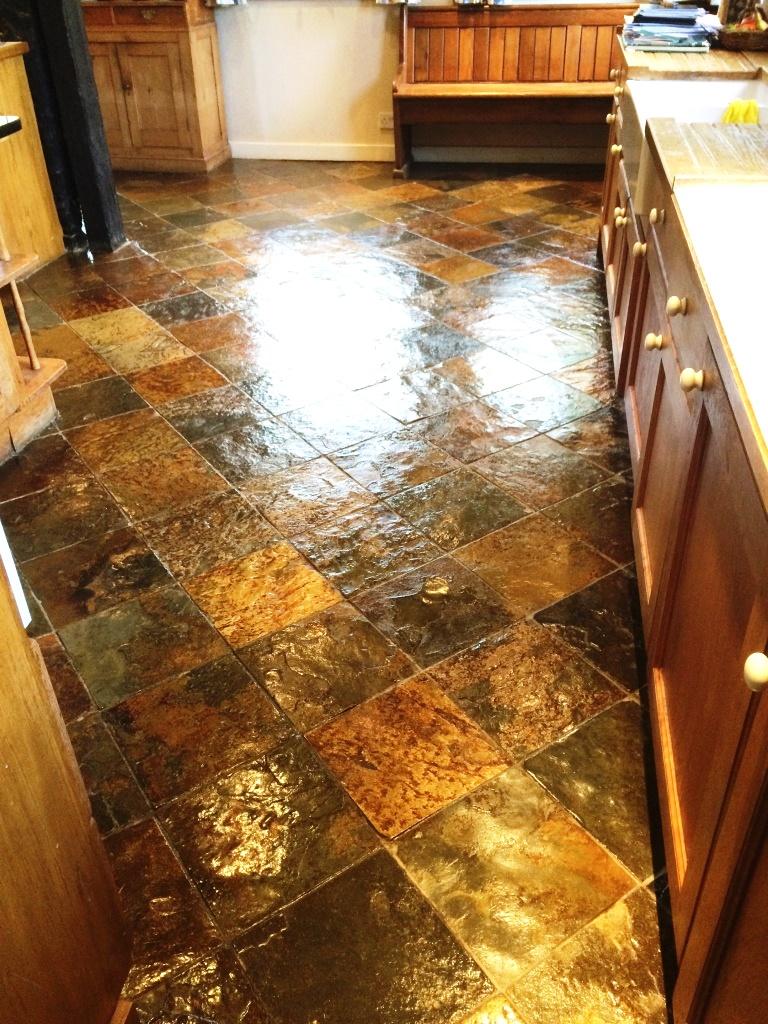 Slate Tiled Kitchen Farmhouse Floor After Sealing in Little Hampden