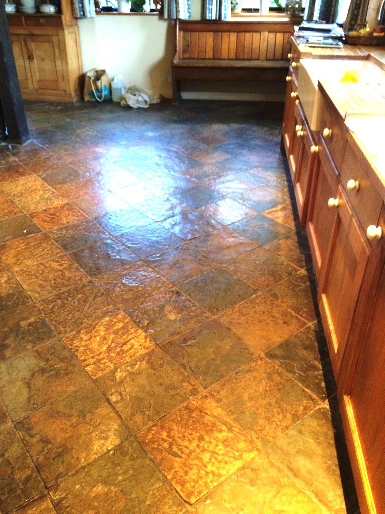 Slate Tiled Kitchen Farmhouse Floor Before Cleaning in Little Hampden