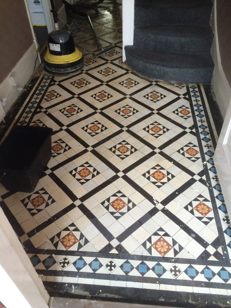Victorian tiled hallway after cleaning Prestwood