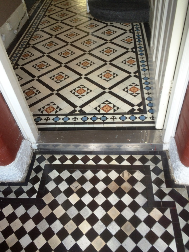 Victorian tiled hallway after cleaning and sealing Prestwood