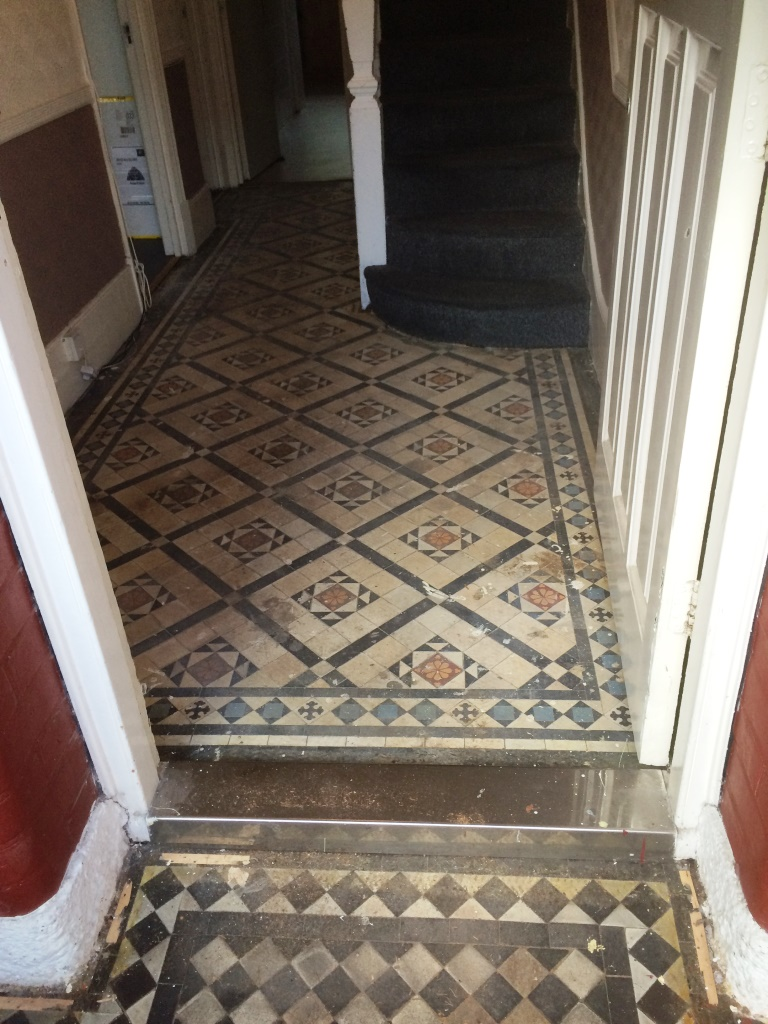Victorian tiled hallway before cleaning and sealing Prestwood