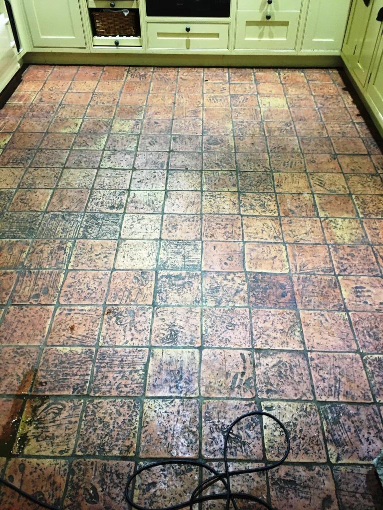Terracotta Tile Before Cleaning in Penn Bucks