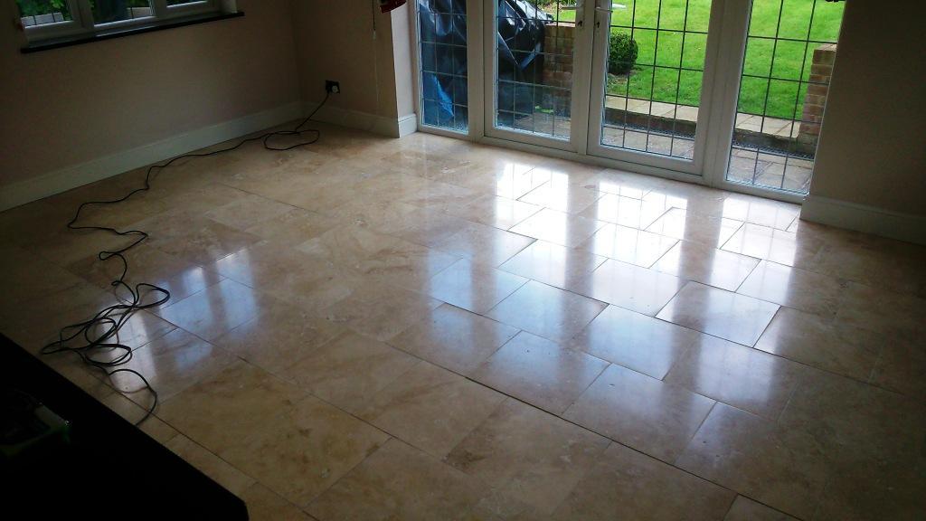 Travertine Kitchen Floor Tiles Transformed in Aylesbury
