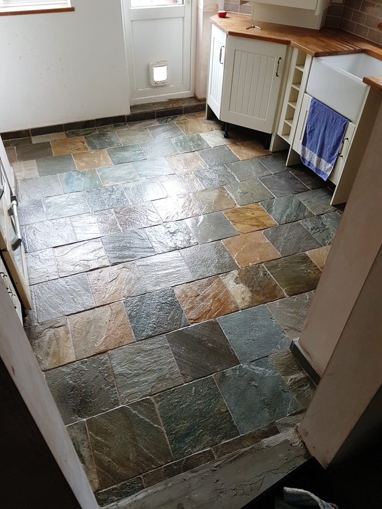 Restoring a Poorly Sealed Slate Kitchen Tiled Floor in Milton Keynes