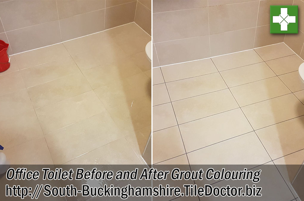 Office Toilet Floor Before and After Grout Colouring Milton Keynes