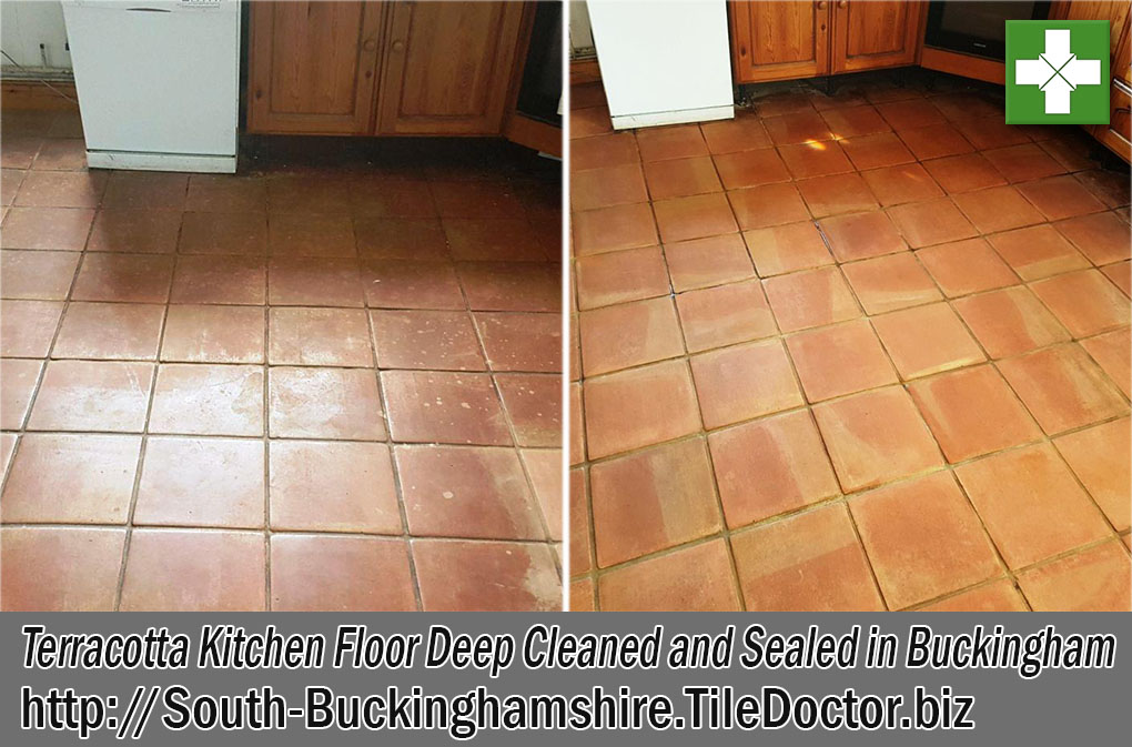 Terracotta Kitchen Floor Before and After Renovation Buckingham