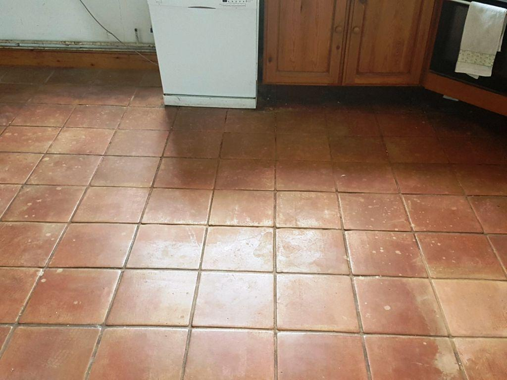 Terracotta Tiles Before Cleaning Buckingham Farm Cottage