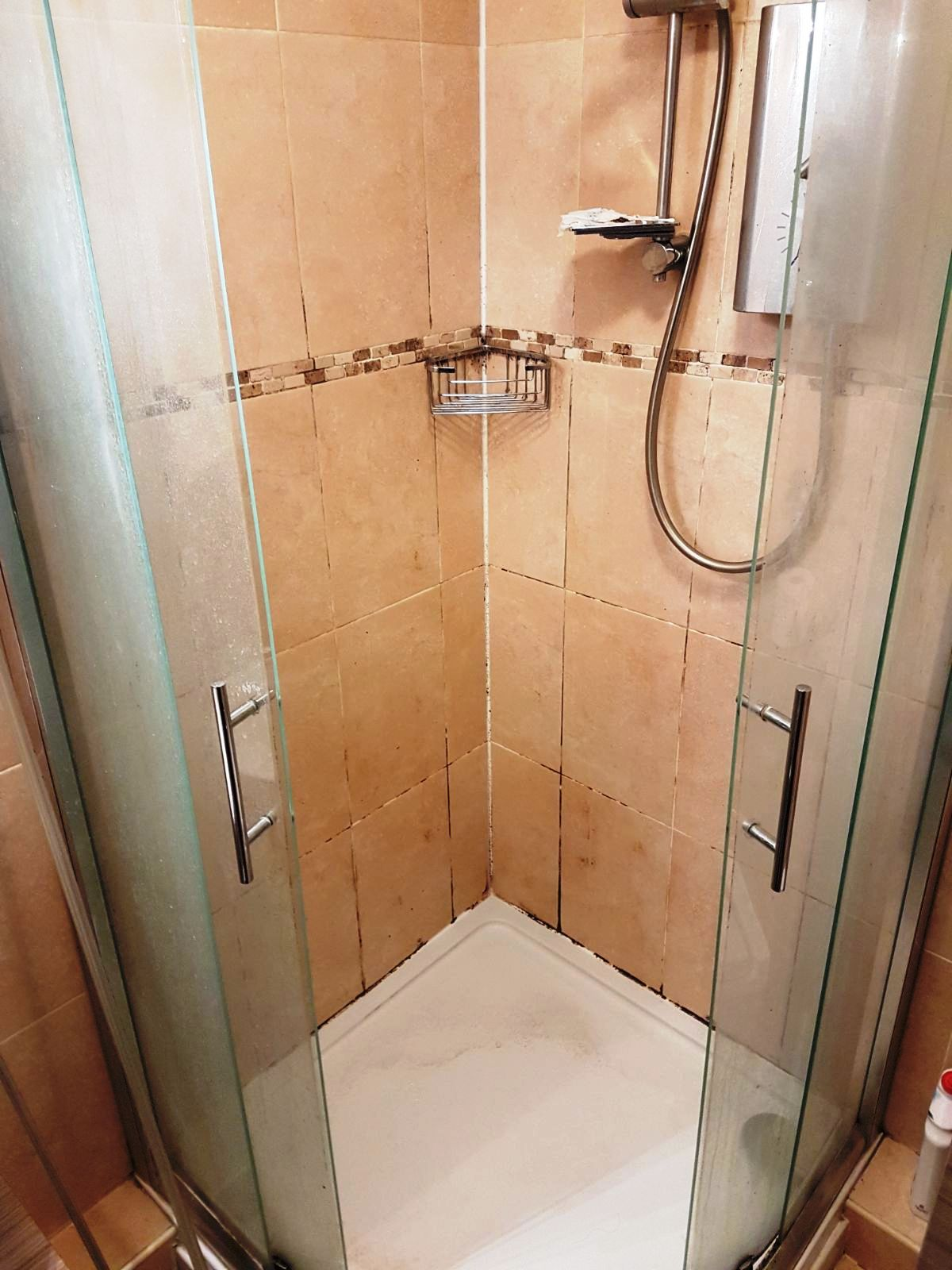 Ceramic Tiled Shower Cubicle Before Cleaning Uxbridge
