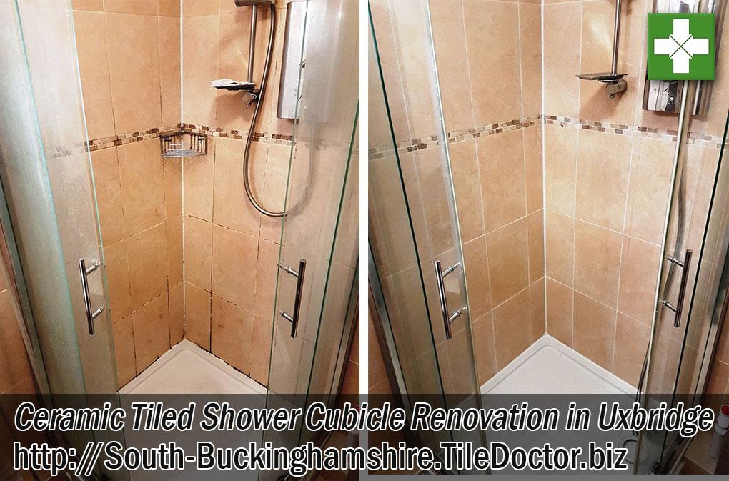 Ceramic Tiled Shower Cubicle Before and After Renovation Uxbridge