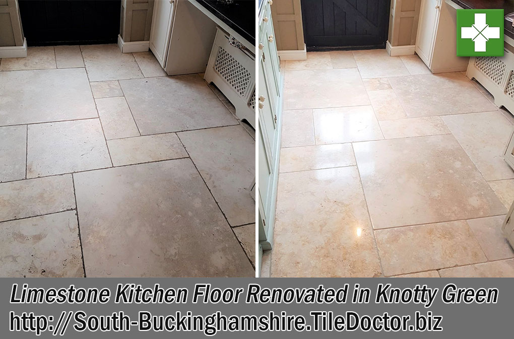 Limestone Tiled Floor Before and After Renovation Knotty Green