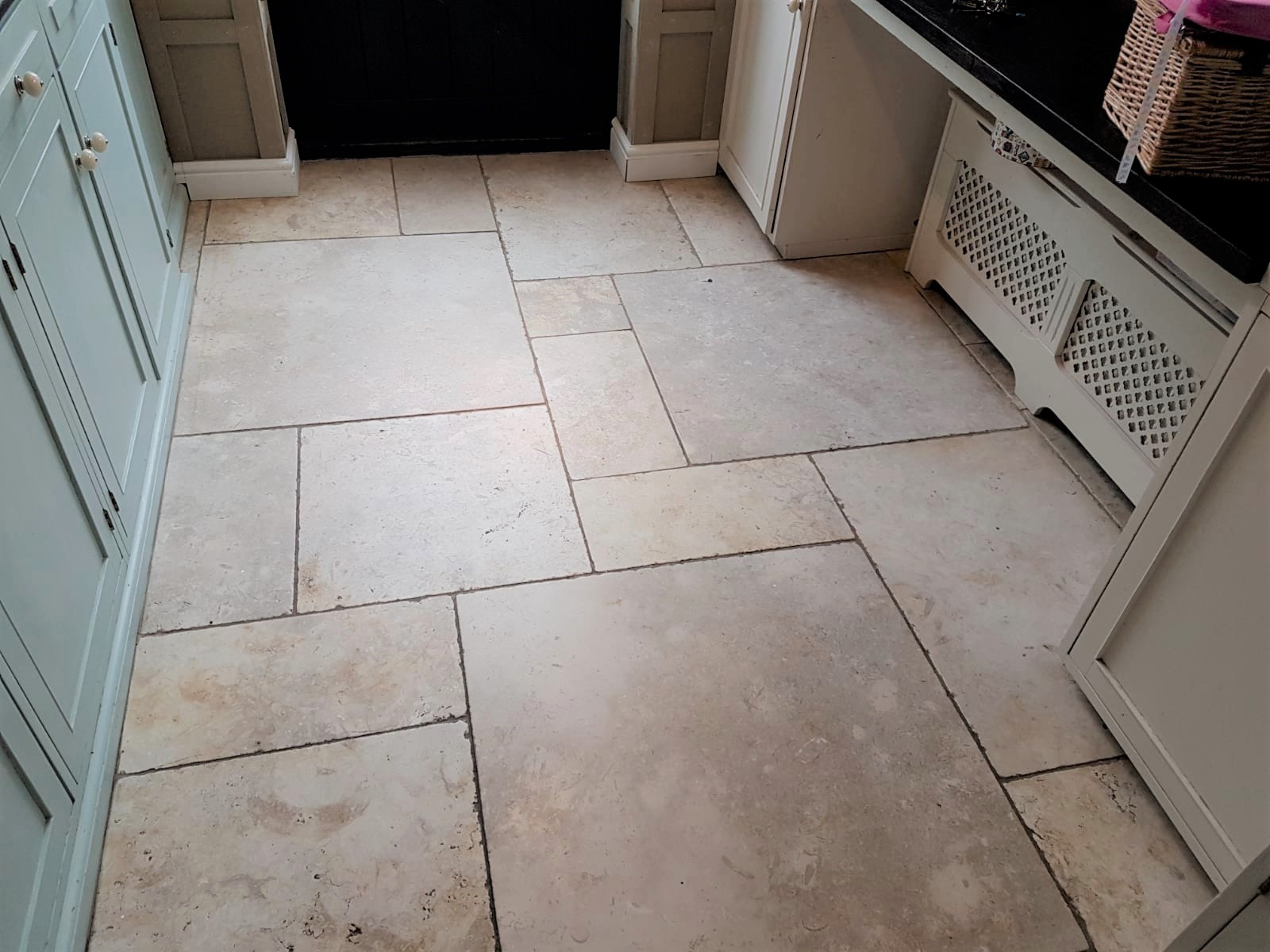 Limestone Tiled Kitchen Floor Before Cleaning Knotty Green