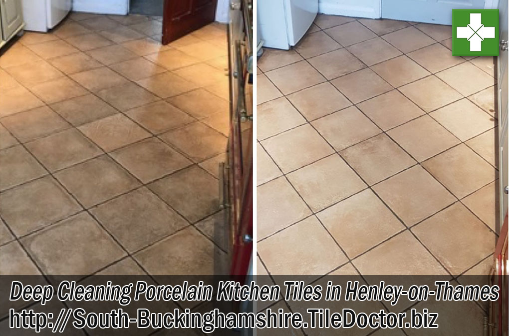 Porcelain Tiled Kitchen Floor Before and After Cleaning Henley-on-Thames