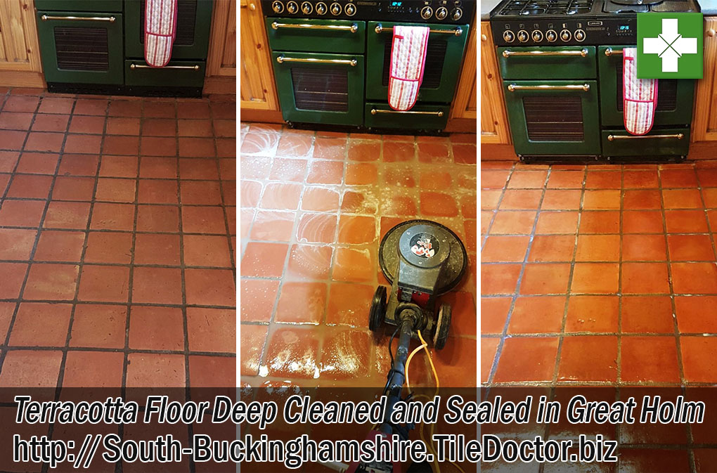 Terracotta Tiled Kitchen Before and After Renovation Great Holm