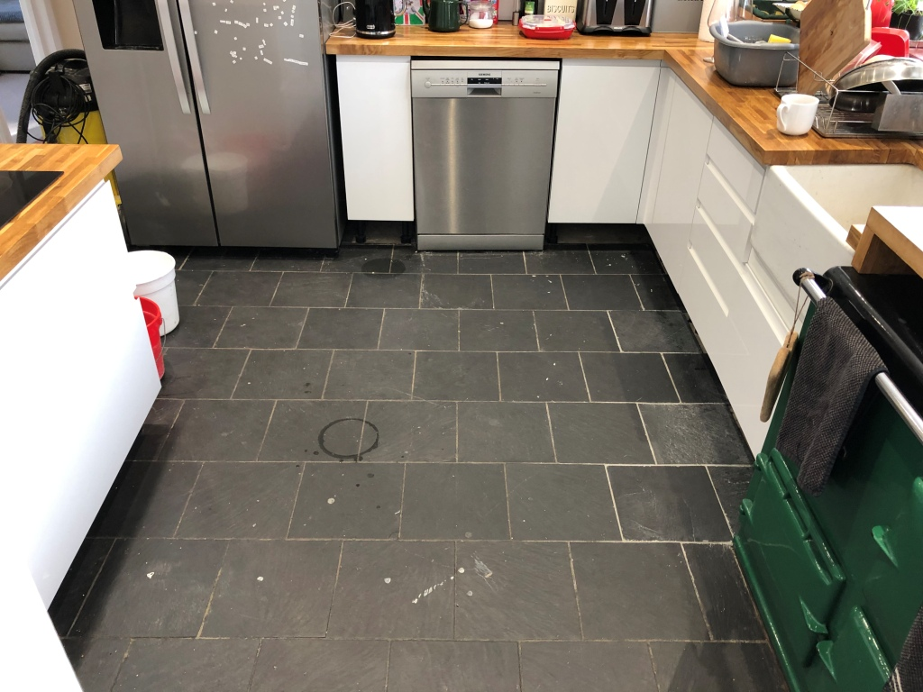 Kitchen Slate Floor Tiles Before Renovation High Wycombe