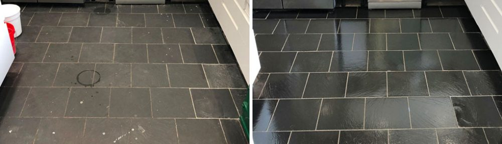 Tired Black Slate Kitchen Floor Renovated in High Wycombe