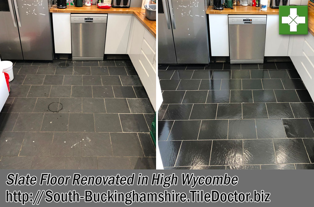 Slate Floor Before After Renovation High Wycombe