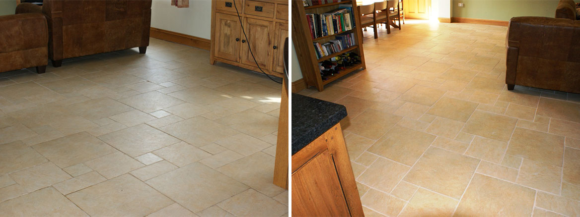 Ceramic Tile and Grout Before and After
