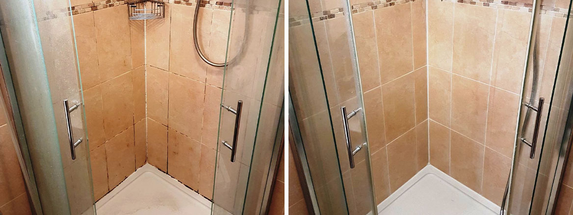 Ceramic Tiled Shower Cubicle Before and After Cleaning Uxbridge