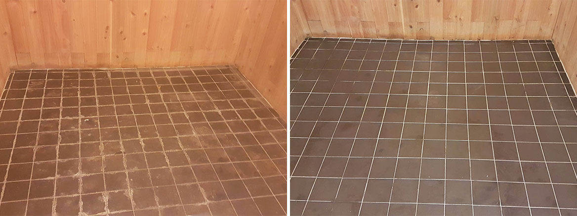 Ceramic Tiled Workshop Floor Before and After Cleaning Uxbridge