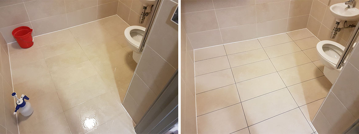 Recolouring Stained Grout in Milton Keynes Office Toilet