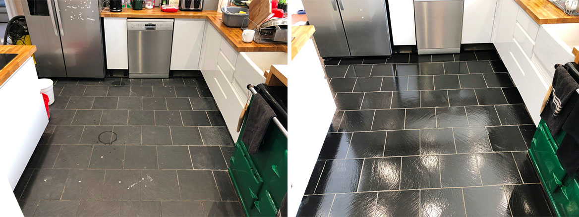 Kitchen Slate Floor Tiles Before and After Renovation High Wycombe