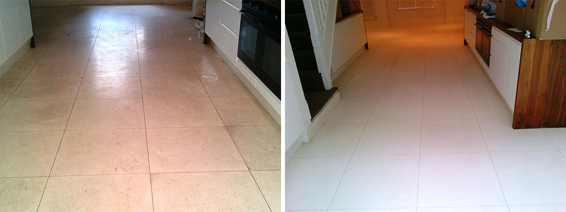 Cleaning and Polishing a Limestone tiled floor in High Wycombe