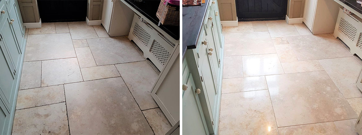 Limestone Tiled Kitchen Floor Before and After Cleaning Knotty Green