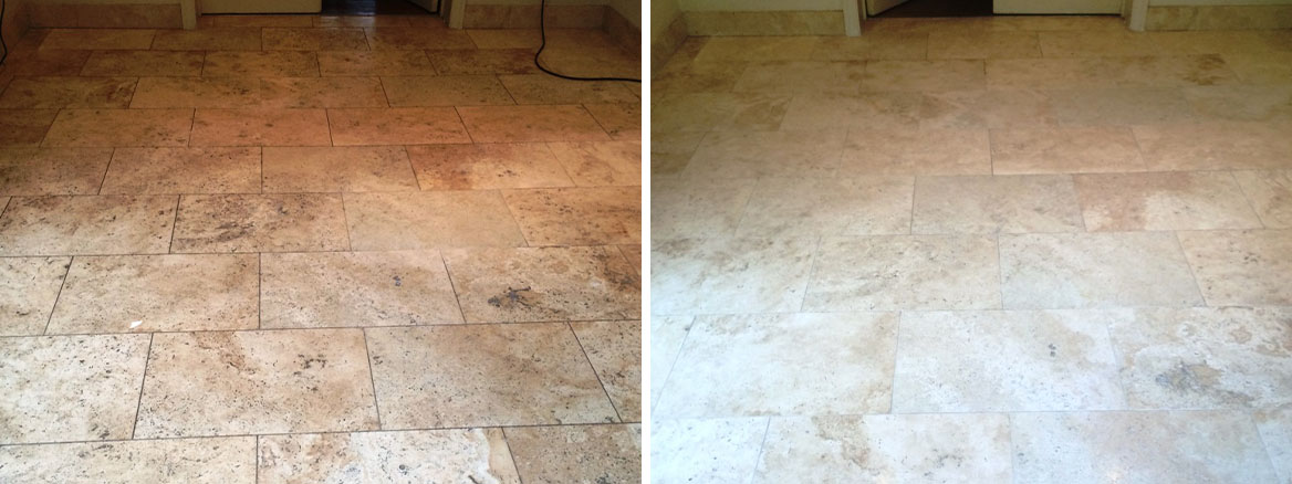 Limestone Tiled Kitchen Floor Before and After Cleaning and Sealing in Marlow