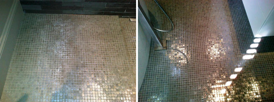 Mosaic Tiled Floor and Basalt Tiles Before and After