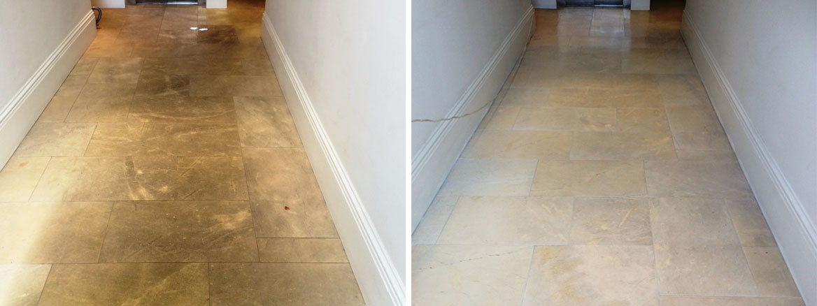 Polished Limestone Before and After cleaning in Aston Clinton