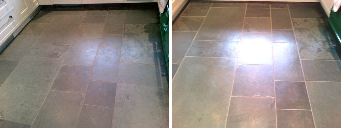 Riven Slate Tiled Kitchen floor cleaned and sealed in Tring Bucks