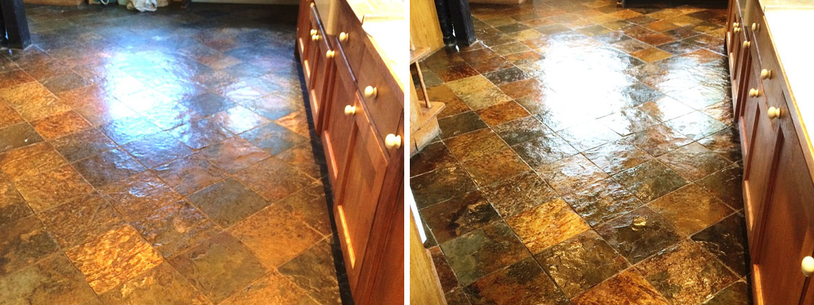 Slate-Tiled-Kitchen-Farmhouse-Floor-Before-After-Sealing-in-Little-Hampden