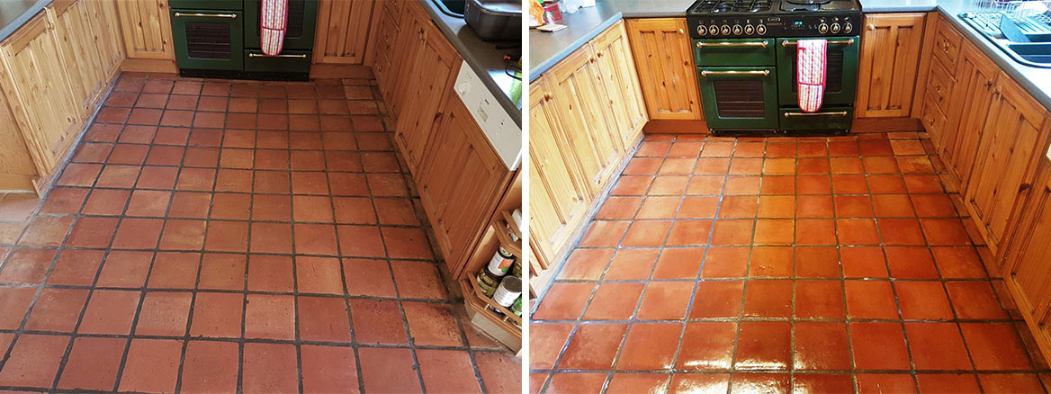 Terracotta Floor Before and After Cleaning Milton Keynes