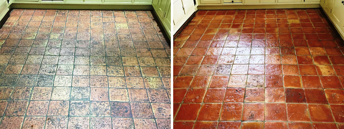 Terracotta Tile Before and After Cleaning in Penn Bucks