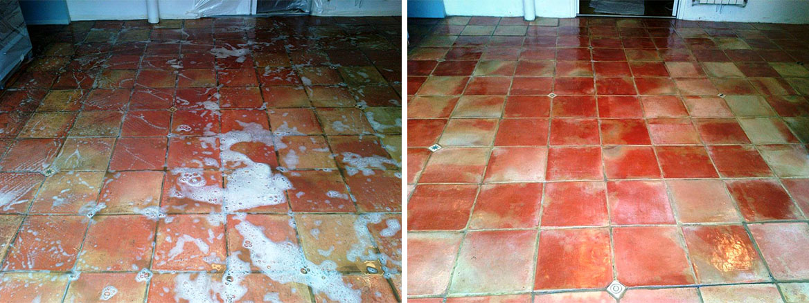 Terracotta Tiled Floor Maintained in Denham, Buckinghamshire