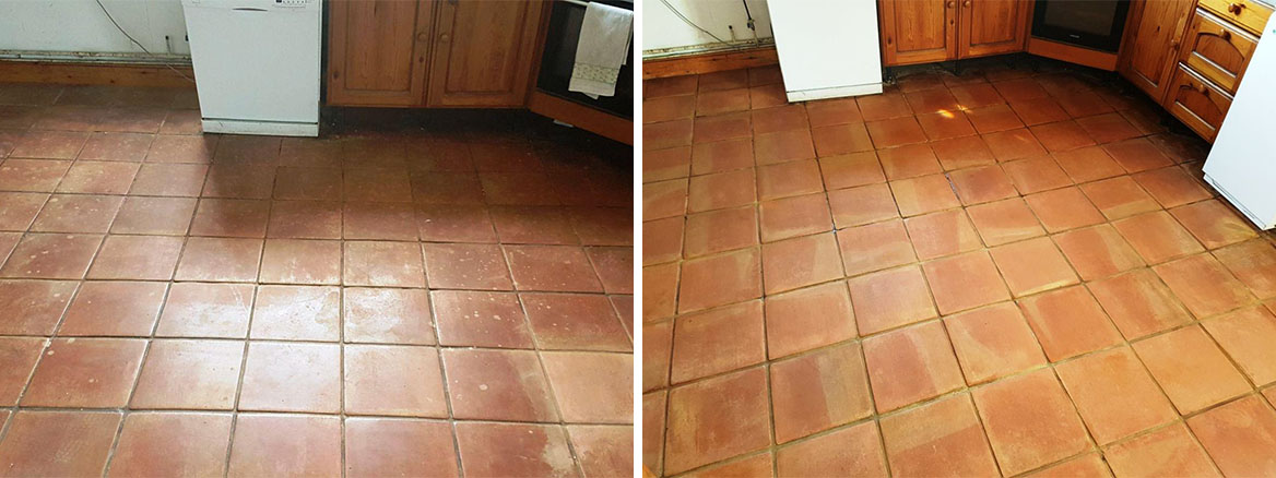 Terracotta Tiles Before and After Cleaning Buckingham Farm Cottage